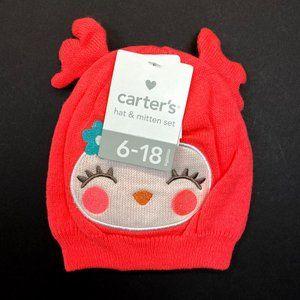 Carter's Baby Hat & Mitten Set - Coral Birdie